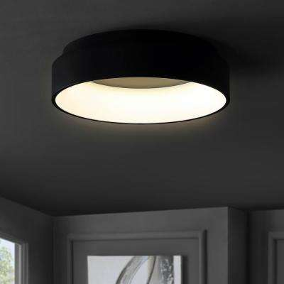 Ring 17.7 in. Black Integrated LED Metal Flush Mount Ceiling Light