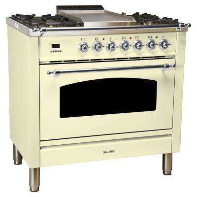 36 in. 3.55 cu. ft. Single Oven Dual Fuel Italian Range True Convection,5 Burners, LP Gas, Chrome Trim/Antique White
