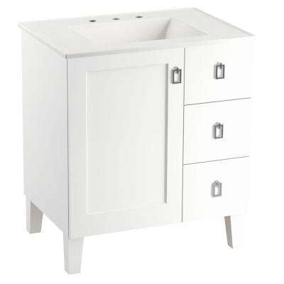 Poplin 30 in. Vanity in Linen White with Vitreous China Vanity Top in White