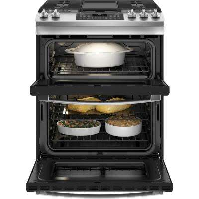 30 in. 6.7 cu. ft. Slide-In Double Oven Gas Range with Self-Cleaning Oven in Stainless Steel
