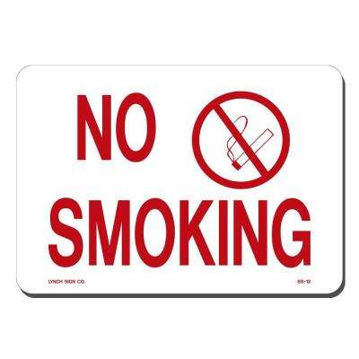 10 in. x 7 in. Red on White Plastic No Smoking with Symbol Sign