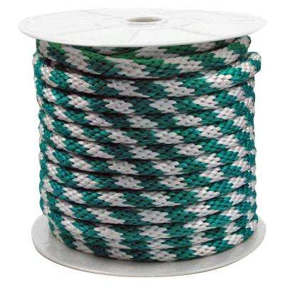 5/8 in. x 140 ft. Solid Braided Poly Rope Green and White