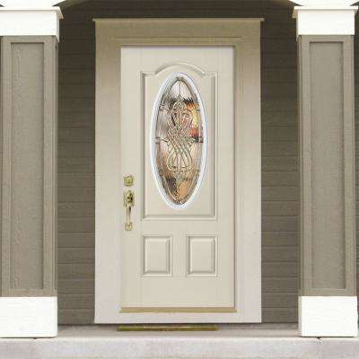 36 in. x 80 in. New Haven 3/4 Oval Lite Right-Hand Inswing Painted Smooth Fiberglass Prehung Front Door with Brickmold