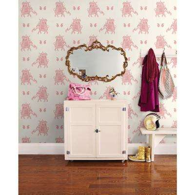 56 sq. ft. Ophelia Pink Elephant Wallpaper