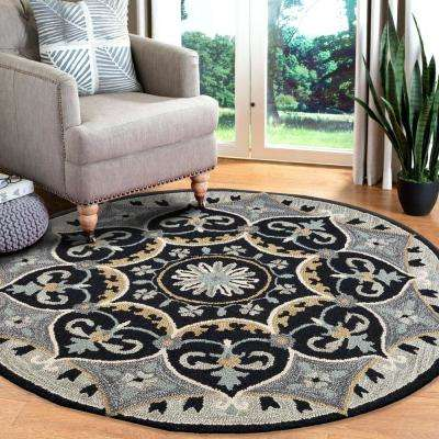 Dazzle Charcoal / Grey 6 ft. x 6 ft. Indoor Spade Round Area Rug