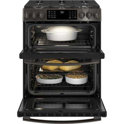 Profile 6.7 cu. ft. Smart Slide-In Double Oven Gas Range with Self-Cleaning Oven in Black Stainless Steel