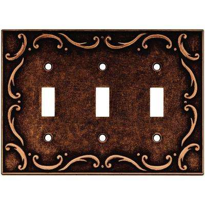 French Lace 3 Gang Switch Wall Plate - Sponged Copper