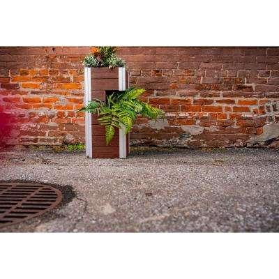 Urbana 13 in. x 13 in. x 30 in. Espresso Brown Vinyl Pillar Planter
