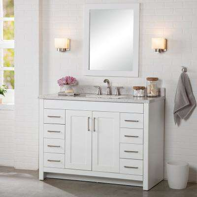 Westcourt 49 in. W x 22 in. D Bath Vanity in White with Solid Surface Vanity Top in Silver Ash with White Sink