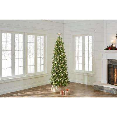 7.5 ft. Pre-Lit LED Manchester Fir Slim Artificial Christmas Tree with 350 Warm White Lights