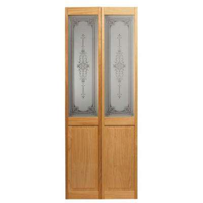Baroque Glass Over Panel Solid Core Pine Interior Bi-Fold Door