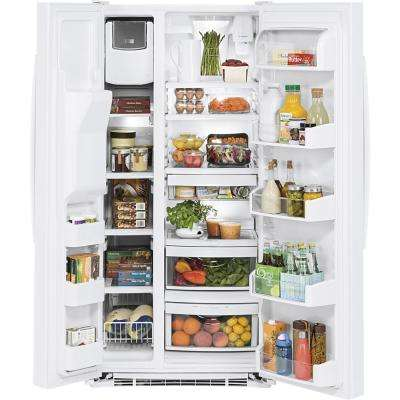 33 in. W 23.2 cu. ft. Side by Side Refrigerator in White