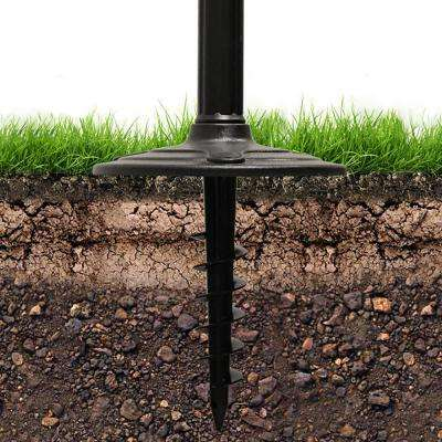 Baytown II Resin Solar Warm-White Outdoor Integrated LED Post Light and Lamp Post with GS Light Bulb and EZ-Anchor Base