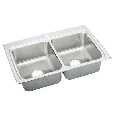 Gourmet Drop-In Stainless Steel 33 in. 1-Hole Double Bowl Kitchen Sink