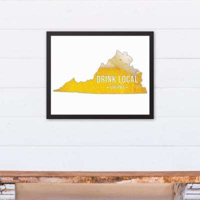 "20 in. x 16 in. ""Virginia Drink Local Beer  "" Printed Framed Canvas Wall Art"