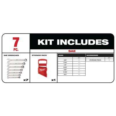SAE Combination Ratcheting Wrench Mechanics Tool Set (7-Piece)