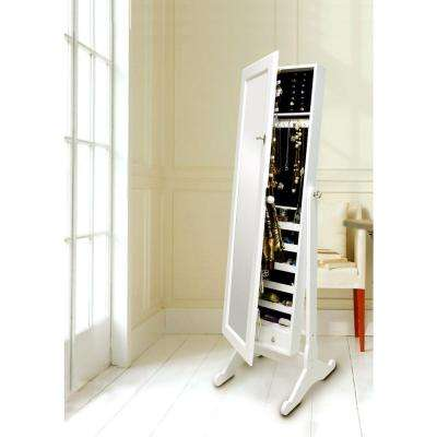 Wessex 57.5 in. H x 19 in. W Contemporary Wood Floor Mirror Jewelry Armoire in White