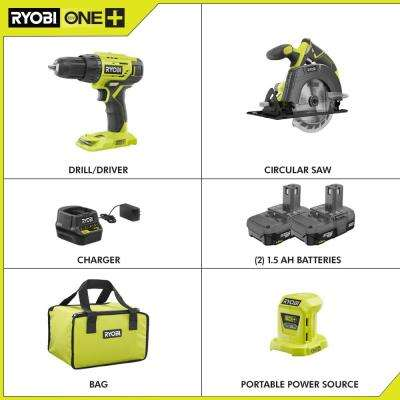 18-Volt Cordless ONE+ Drill/Driver, Circular Saw Kit with (2) 1.5 Ah Batteries, Charger, Bag and Portable Power Source