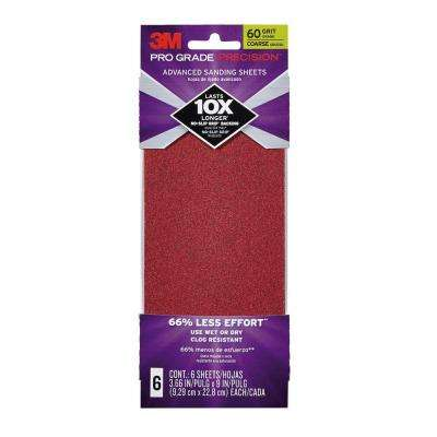Pro Grade Precision 3.66 in. x 9 in. 60 Grit Coarse Advanced Sanding Sheets (6-Pack)