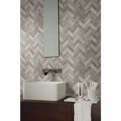 Textalia Herringbone 12.8 in. x 11.02 in. x 6mm Glass Mesh-Mounted Mosaic Tile (14.7 sq. ft. / case)