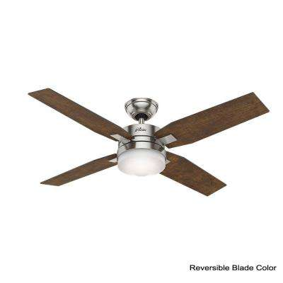 Mercado 50 in. LED Indoor Brushed Nickel Ceiling Fan with Light and Universal Remote