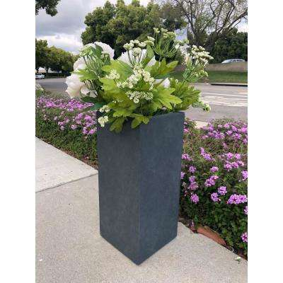 Medium 11 in. x 11 in. x 23.6 in. Granite Lightweight Concrete Tall Planter