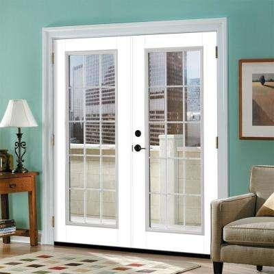 Prehung 15 Lite Primed Smooth Fiberglass Patio Door with Brickmold