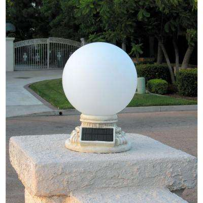 9-Light Solar White Outdoor LED Globe Entry Light with Frosted Glass