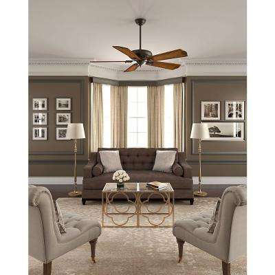 Fellini 60 in. Indoor Brushed Cocoa Bronze Ceiling Fan with Remote
