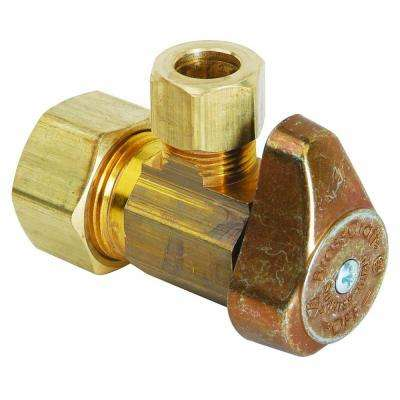 1/2 in. Nominal Compression Inlet x 1/4 in. O.D. Compression Outlet Brass 1/4-Turn Angle Valve (5-Pack)