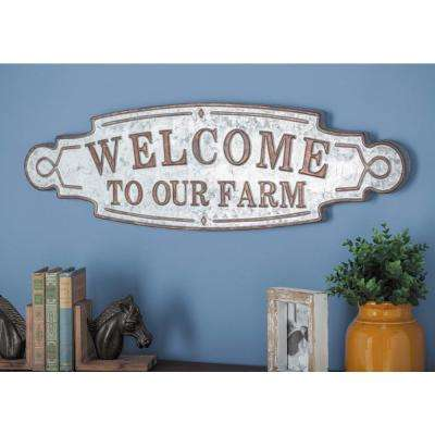 "36 in. x 11 in. ""Welcome to Our Farm"" Metal Wall Sign"