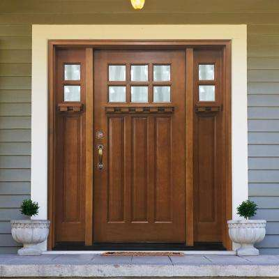 68 in. x 80 in. Craftsman Bungalow 6 Lite Right-Hand Inswing Wheat Stained Wood Prehung Front Door 14 in. Sidelites