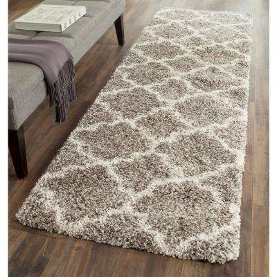 Hudson Shag Gray/Ivory 2 ft. 3 in. x 18 ft. Runner Rug