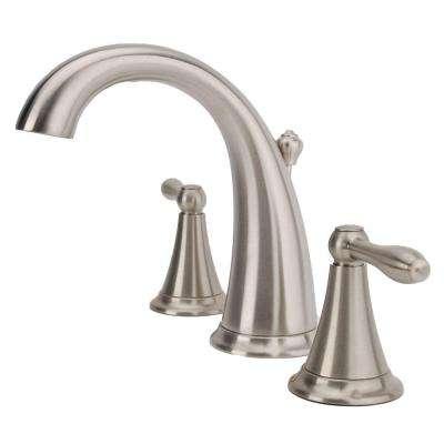 Montbeliard 8 in. Widespread 2-Handle Mid-Arc Bathroom Faucet in Brushed Nickel