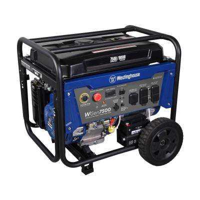 7500 Running Watt and 9000 Peak Watt Gas Powered Portable Generator with Electric Start - CARB Compliant