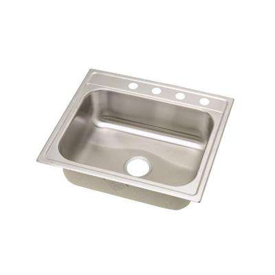Signature Drop-In Stainless Steel 25 in. 4-Hole Single Bowl Kitchen Sink