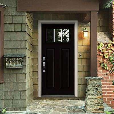 36 in. x 80 in. 3 Lite Craftsman Black Painted Steel Prehung Right-Hand Inswing Front Door w/Brickmould
