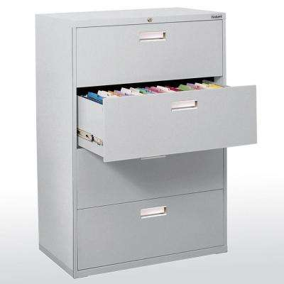 600 Series 53 in. H x 36 in. W x 19 in. D 4-Drawer Lateral File Cabinet in Dove Gray