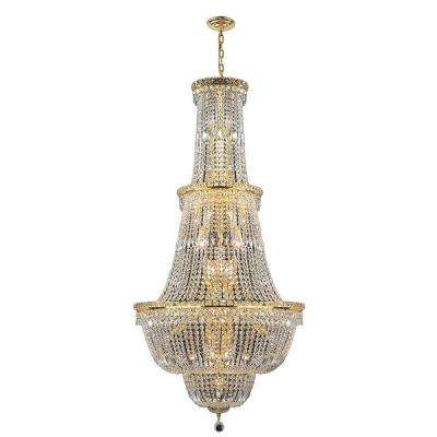 Empire Collection 34-Light Gold Crystal Chandelier
