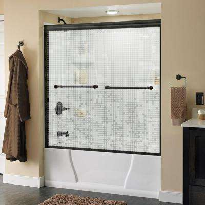 Silverton 59-3/8 in. x 58-1/8 in. Semi-Frameless Sliding Tub Door in Bronze with Mozaic Glass