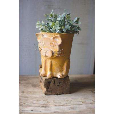 8 in. Dia Yellow Clay Cat Planter