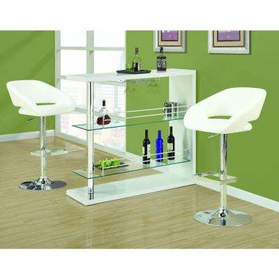 Metal Hydraulic Lift Barstool in White and Chrome