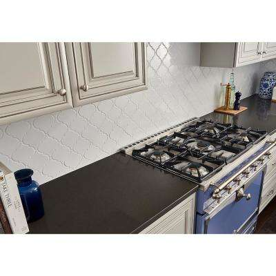 Whisper White Arabesque 10-1/2 in. x 15-1/2 in. x 8 mm Glazed Ceramic Mesh-Mounted Mosaic Wall Tile (11.7 sq. ft. /case)