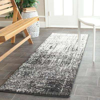 Retro Black/Light Gray 2 ft. 3 in. x 19 ft. Runner Rug