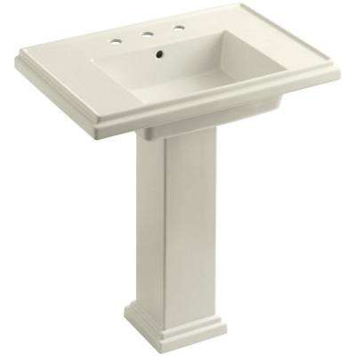 Tresham Ceramic Pedestal Combo Bathroom Sink with 8 in. Centers in Biscuit with Overflow Drain