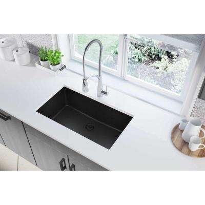 Quartz Classic Undermount Composite 33 in. Single Bowl Kitchen Sink in Black
