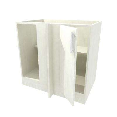 39x34.5x24 in. Blind Outdoor Base Corner Cabinet with open back and Full Height Doors Left in Miami Radiant White