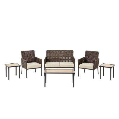 Park Lane 6-Piece Wicker Conversation Set with Olefin Tan Cushions
