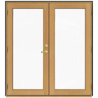 71.5 in. x 79.5 in. W-2500 Chestnut Bronze Right-Hand Inswing French Wood Patio Door
