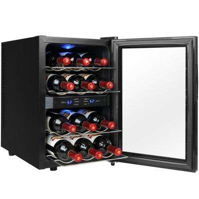 12-Bottle Dual Zone Thermoelectric Wine Cooler in Black with Reversible Door Design